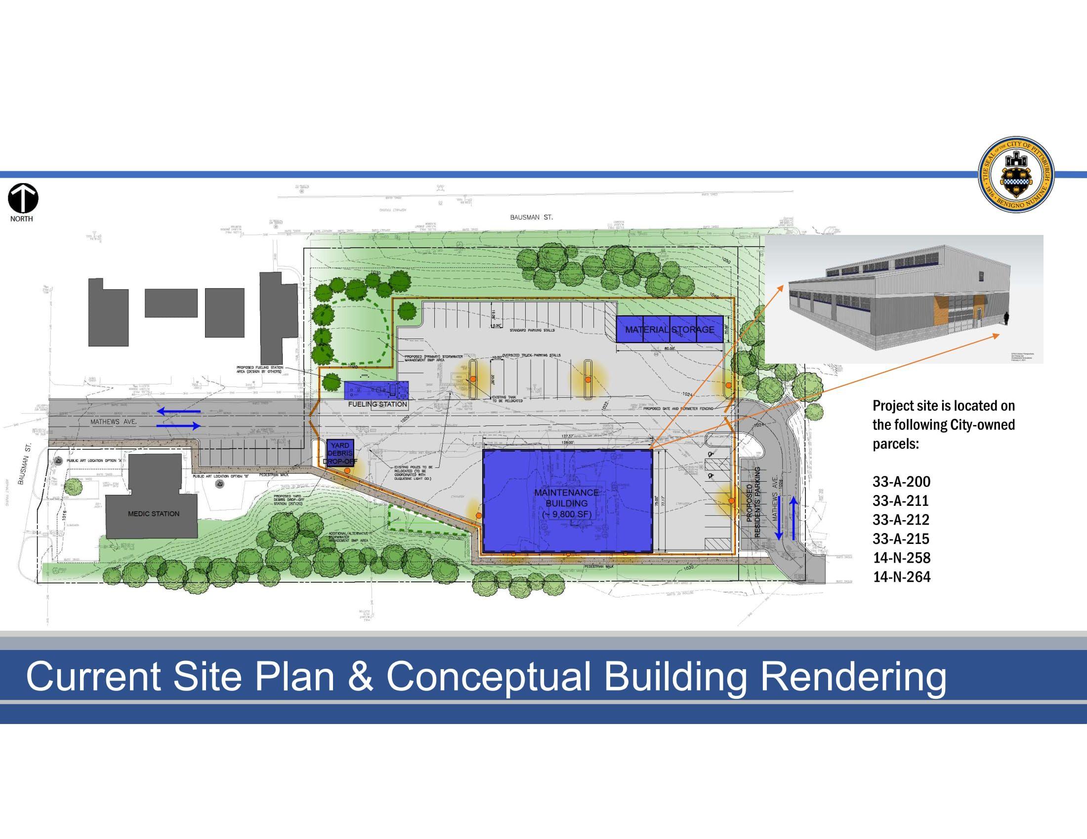 Current site plan & conceptual building rendering