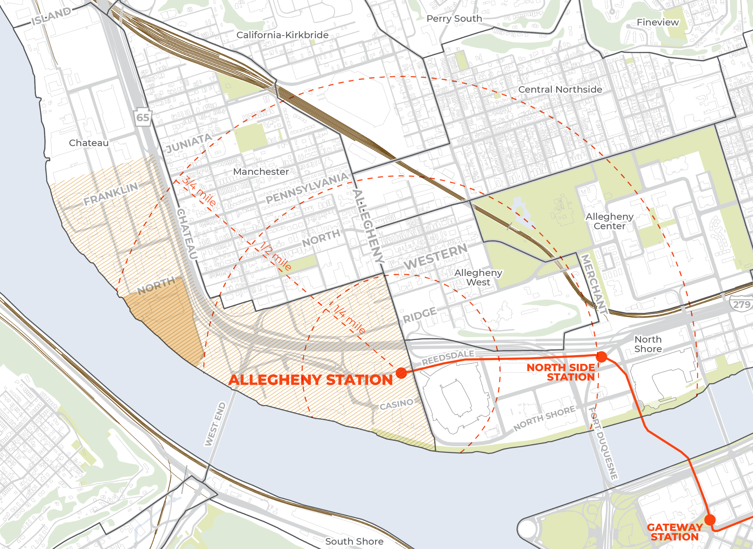 TRID Study Area  Eligible locations within an area generally formed by a radius not to exceed three-quarters of a mile from a transit stop measured from the centerline of the track.   The specific boundaries of a TRID may be expanded or reduced based on l