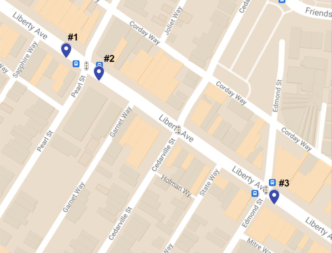 Proposed locations for a Move PGH hub in Bloomfield