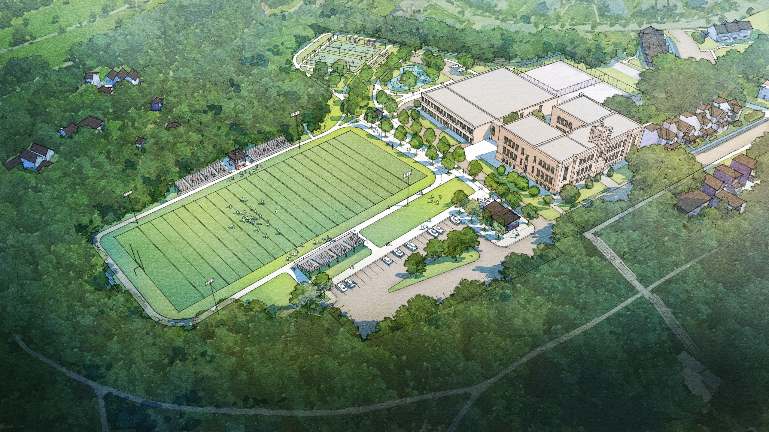 Aerial rendering of the proposed changes at Fort Pitt Park.