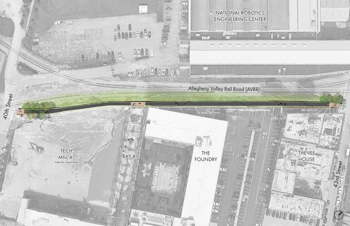 Aerial view of proposed shared-use path location